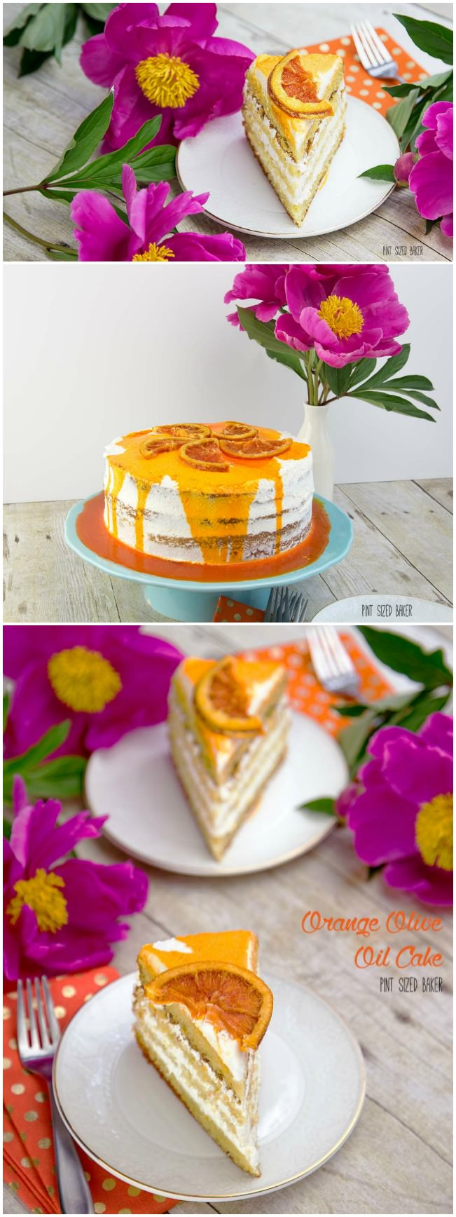 A beautiful Orange Olive Oil Cake recipe with whipped cream frosting and candied Cara Cara Orange slices on top.