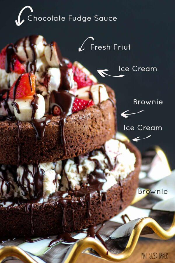 Layer upon decadent layer of brownies, ice cream and fudge, this brownie and ice cream tower dessert will make you cheat on your diet.