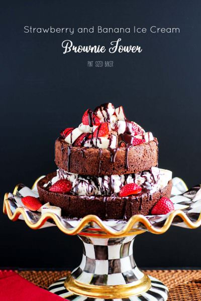 Brownie and Ice Cream Tower Dessert