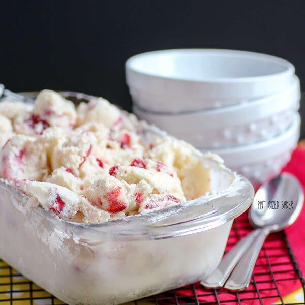 Strawberry banana ice cream made with an ice cream maker. It's so much creamier than no-churn ice cream.