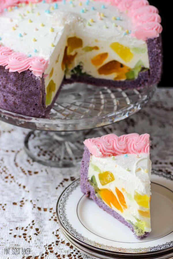Each slice of t his Jewel Cake is different and unique. The mosaic jello inside makes each slice special.