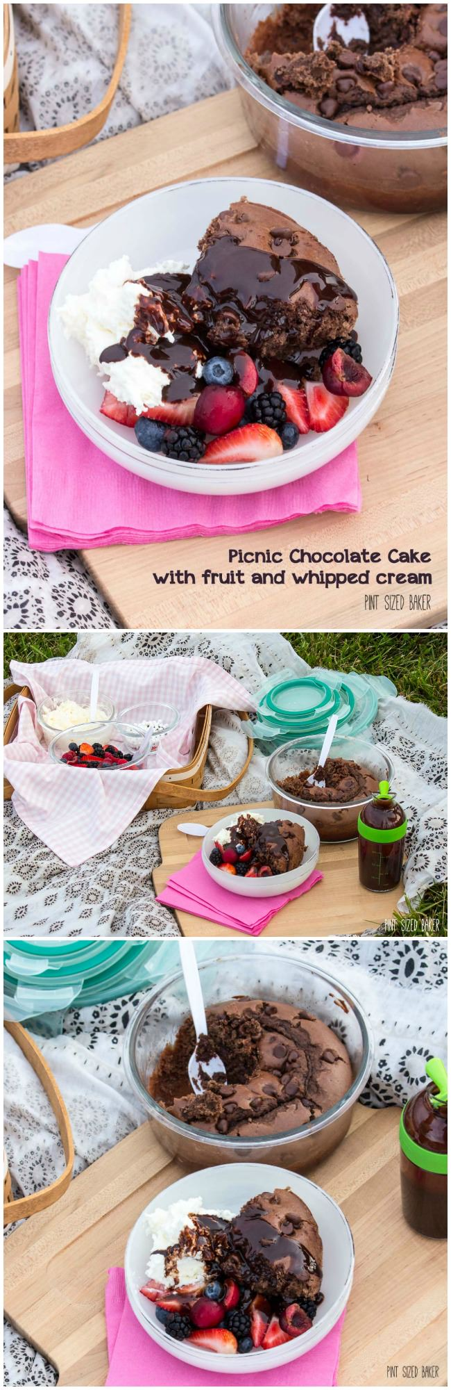 This Picnic Chocolate Cake is easy to make and is great when topped with fresh fruit and whipped cream. Make it for your next picnic.