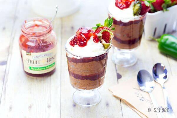 Smucker's Fruit and Honey Strawberry Jalapeno jam is amazing when paired with chocolate mousse.