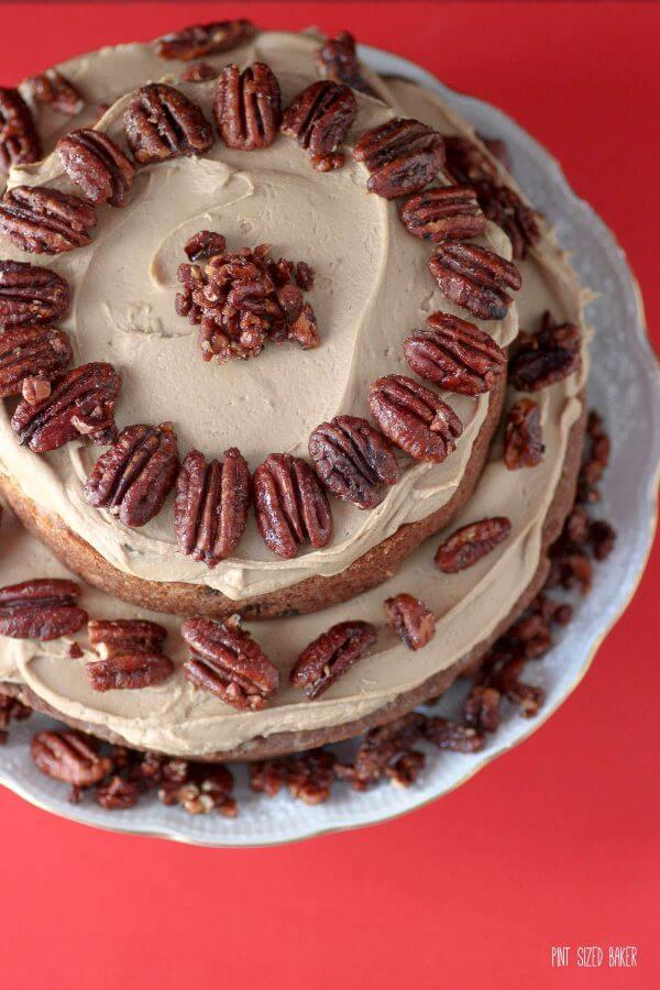 This apple and caramel spice cake is studded with apples, raisins, pecans, and cinnamon. It's got all my favorite flavors!