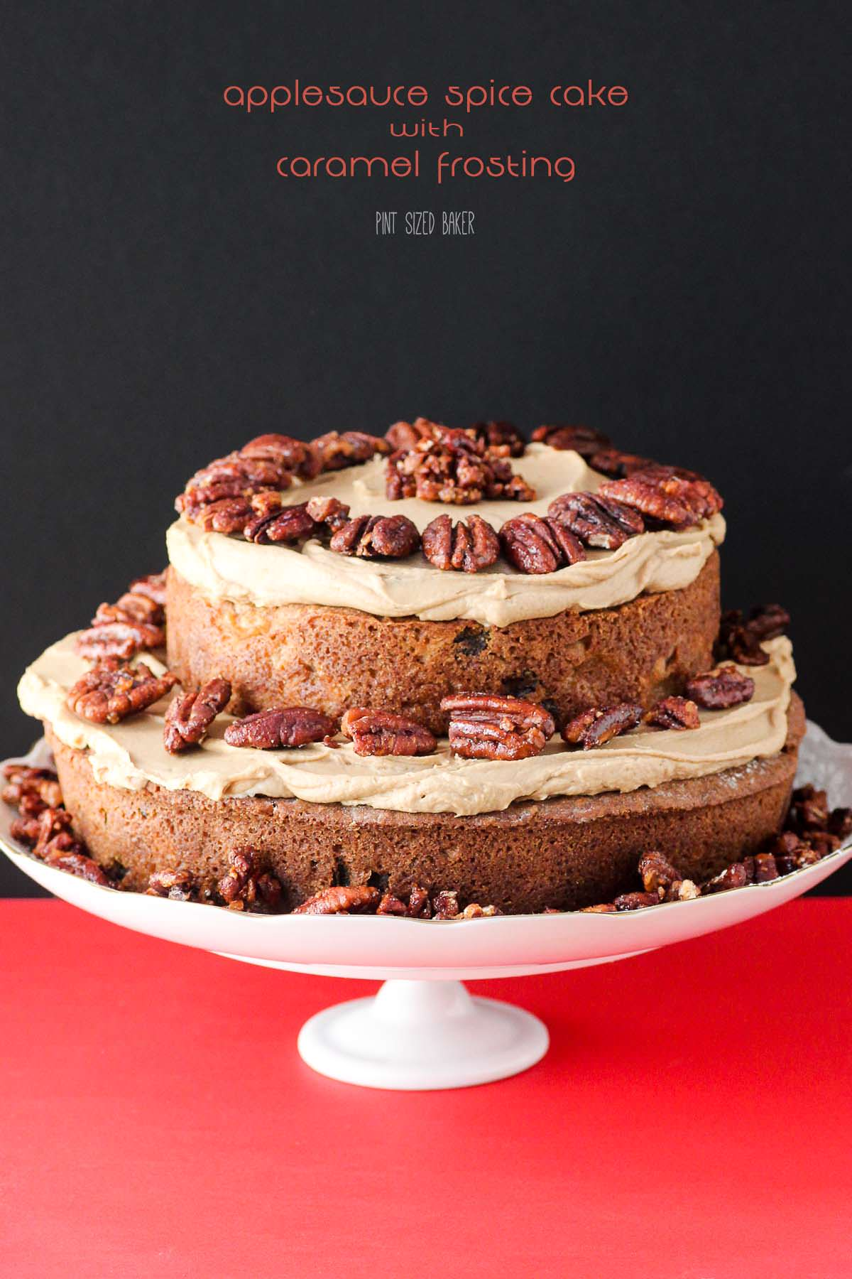 The time is NOW to make this Applesauce Cake with Caramel Frosting. It's a fall recipe you must make!