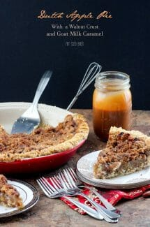 Dutch Apple Pie just like grandma used to make. Loaded with a crumble topping and then served with caramel.