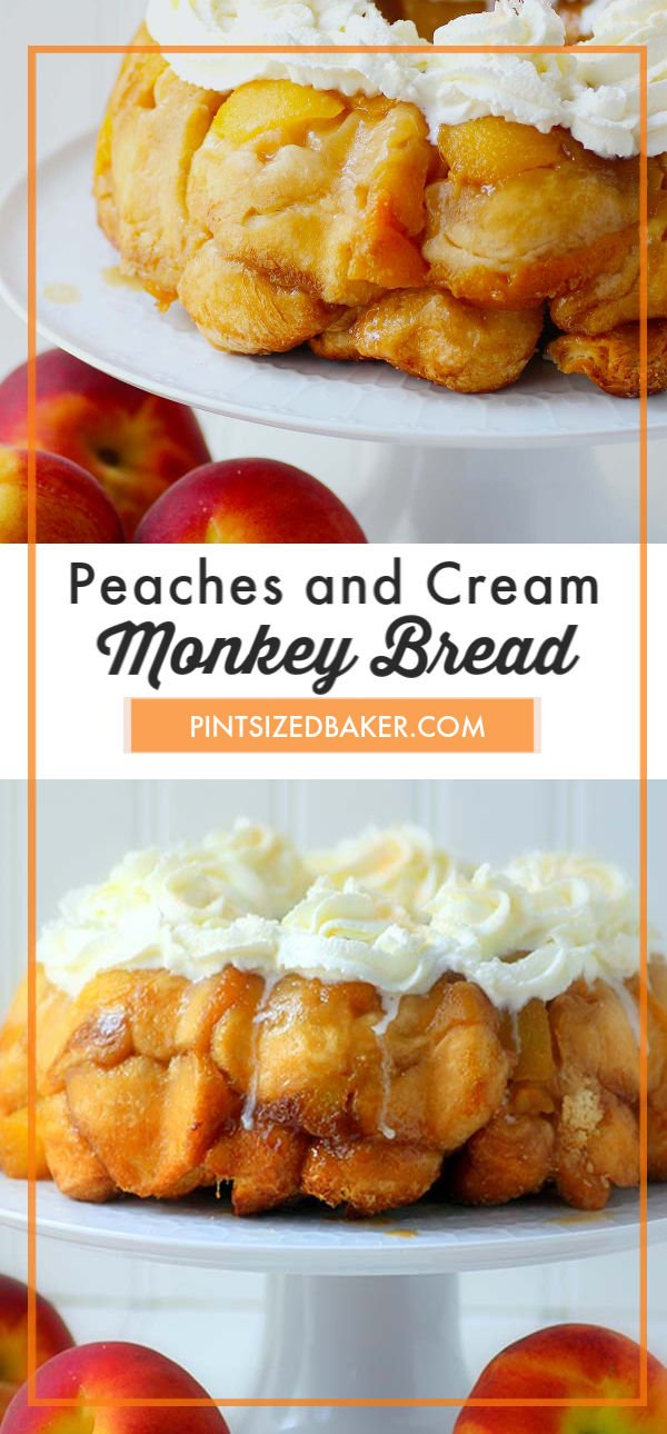 Love Monkey Bread? This sweet Peaches and Cream Monkey Bread is stuffed full of fresh peaches and sweetened cream cheese. It's a favorite weekend breakfast treat!!