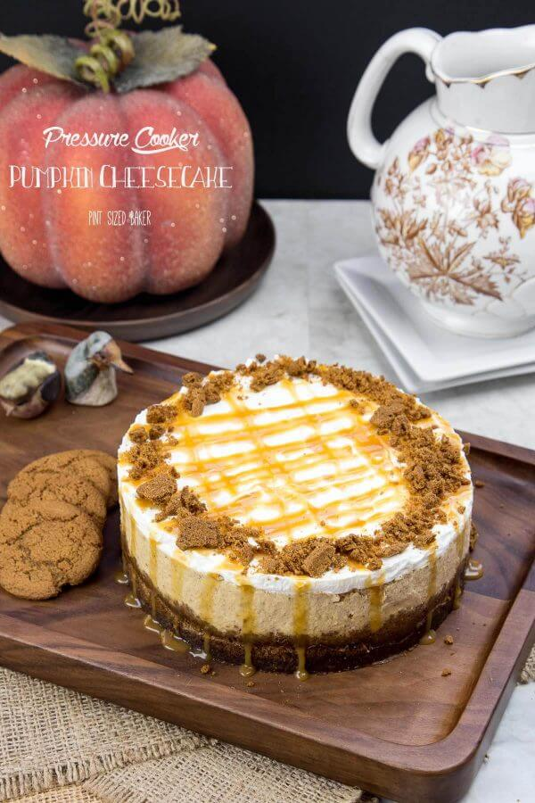 Everyone is going to love this easy Pressure Cooker Pumpkin Cheesecake topped with whipped cream and ginger cookie snaps.