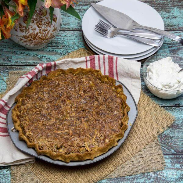 Pie is served! It's a Pecan Pie on top and Pumpkin Pie on the bottom.