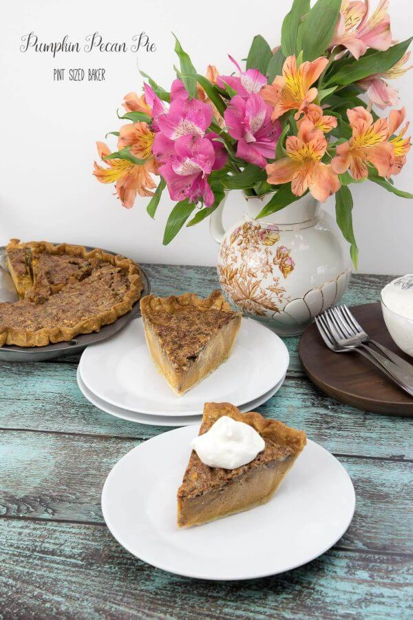 Can't make up my mind between Pumpkin Pie and Pecan Pie, so here's a Pumpkin Pecan Pie!