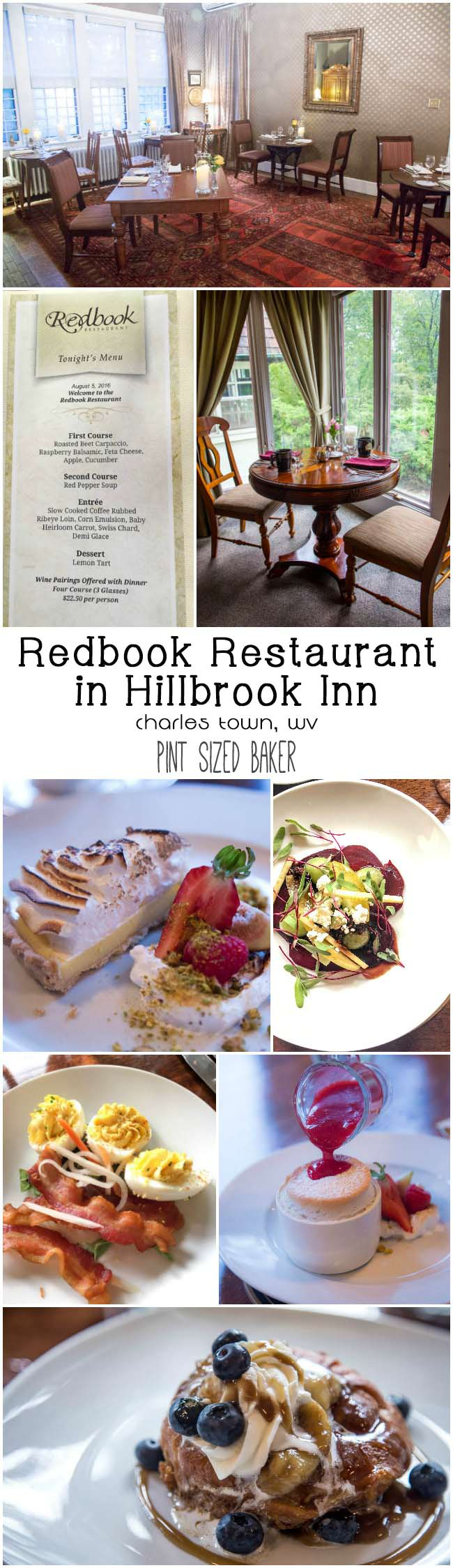 Enjoy a romantic dinner in Charles Town, WV at the Redbook Restaurant located at the Hillbrook Inn. Prix fixe menus that are amazing.