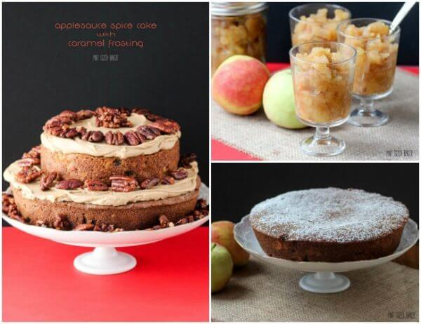 Enjoy an apple and caramel spice cake ! It starts with homemade chunky applesauce and a spiced applesauce cake. We loved it!