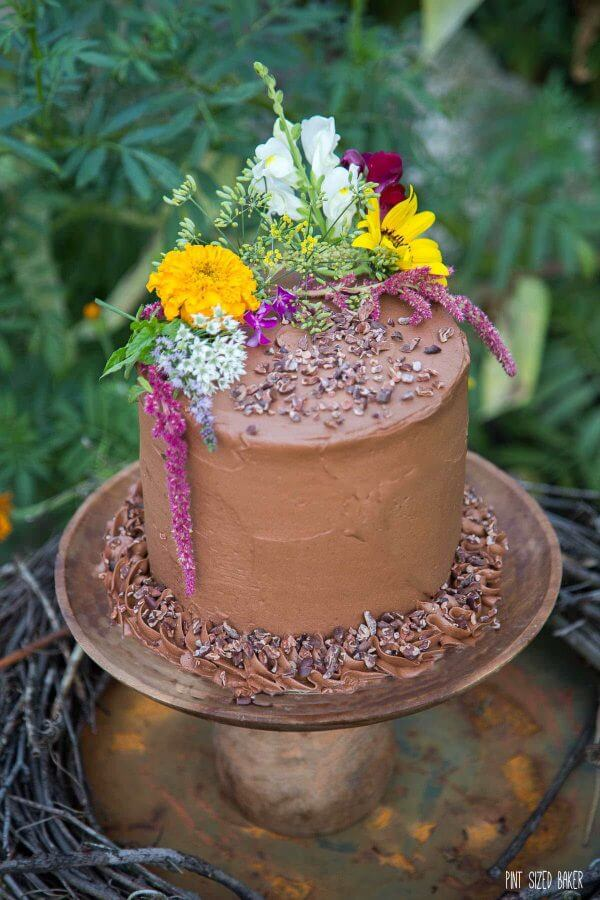 Decorate a 4 layer Chocolate Cake with edible flowers. No special decorating skills required.
