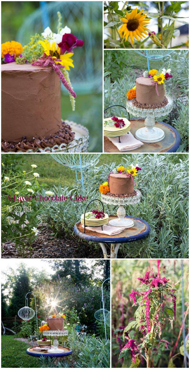 4 layer Chocolate Cake decorated with edible flowers for a pretty Garden Party Cake.