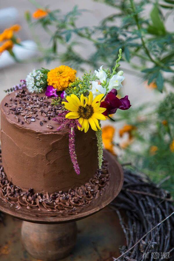 Chocolate Cake Decorated With Flowers : 4-layer Chocolate Cake - Pint Sized Baker