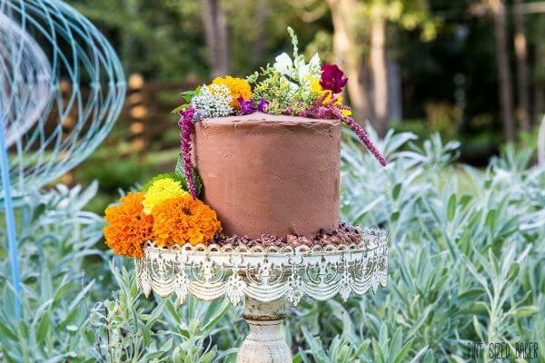 Decorate a 4-layer Chocolate Cake with edible flowers. No special decorating skills required.