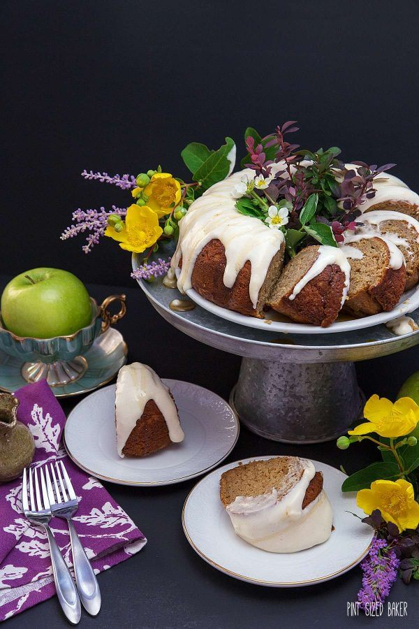 An Apple Spice Bunt Cake starts with a spice cake box mix and ends up with as a beautiful dessert that is perfect for your fall baking!
