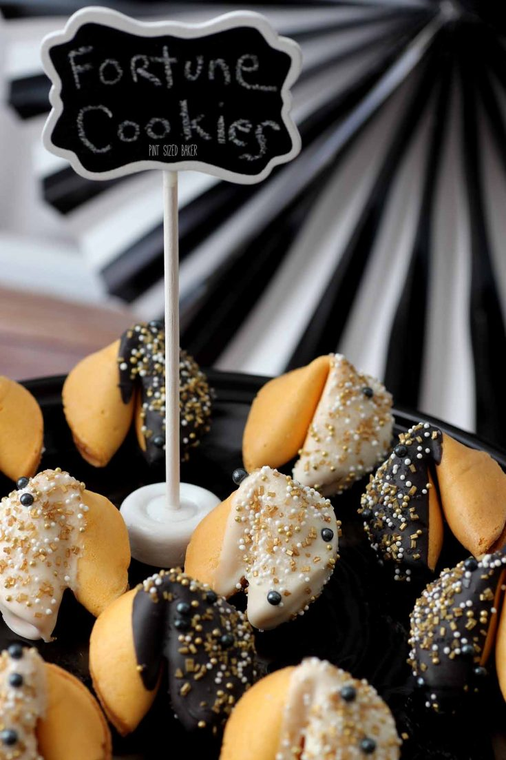 Dress up basic Fortune Cookies with chocolate and fun sprinkles.