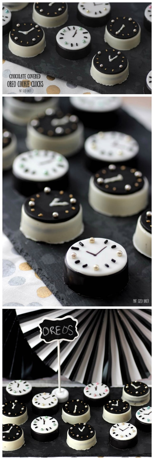 Chocolate Covered Oreo Cookies decorated to count down to the New Year! Fun and easy to make.