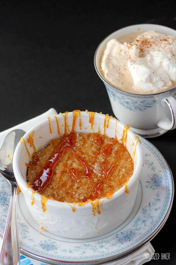 Pumpkin Creme Brulee with a hard, crunchy sugar topping that requires no kitchen torch to make.