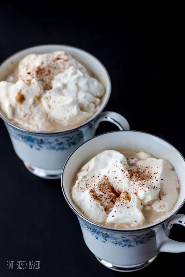 Fresh whipped cream topped with nutmeg on this pumpkin spice coffee. The perfect way to end the day!