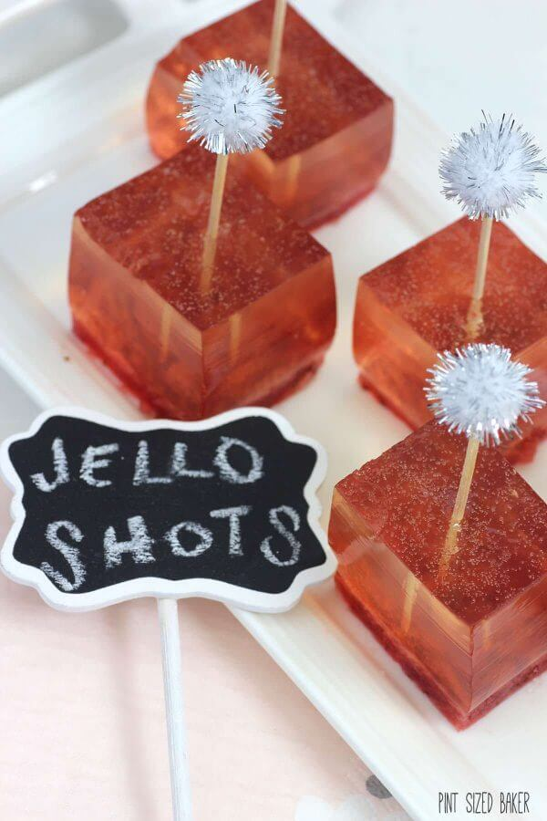 Fresh strawberry puree with homemade champagne jello. The perfect New Years Party Treat!