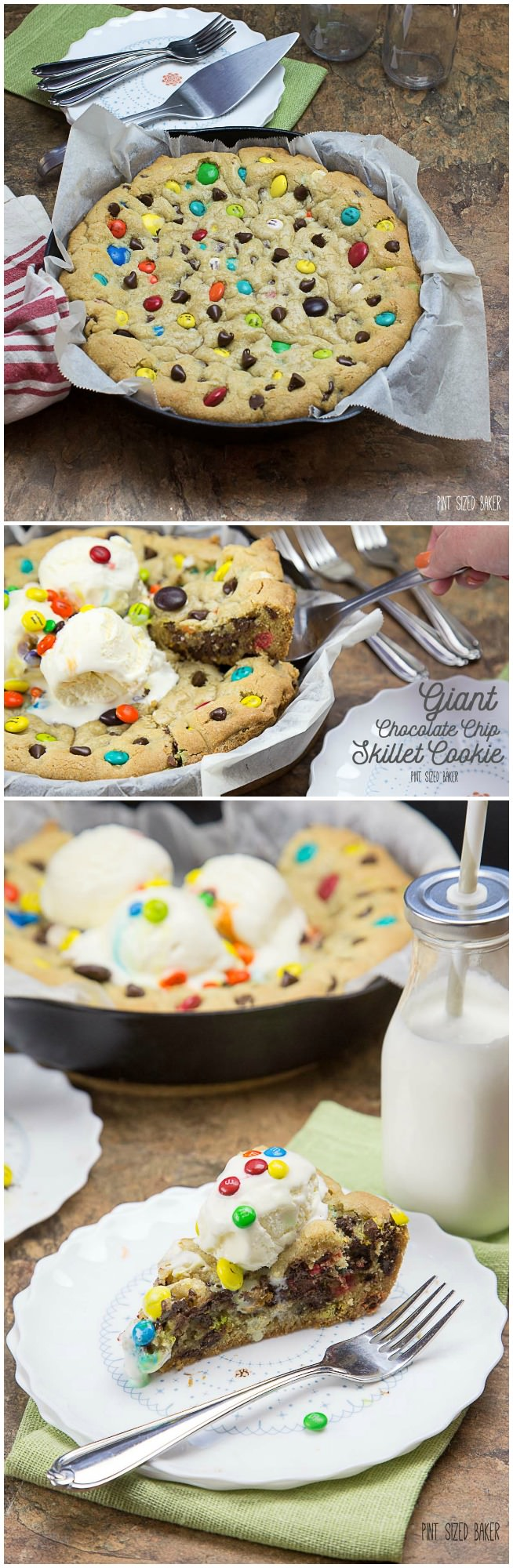 Giant Chocolate Chip Skillet Cookie - Pint Sized Baker