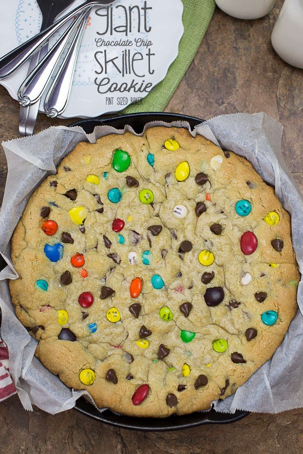 Image linked to my giant chocolate chip skillet cookie loaded with M&M's.