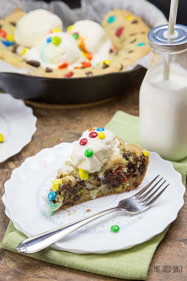 Look at all of that chocolate stuffed into a giant chocolate chip skillet cookie! And there are three types of M&Ms sprinkled in just for good measure.