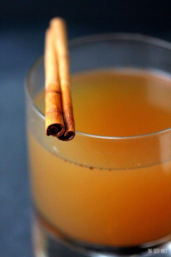 Serve your hot, spiked mulled cider with a pat of cinnamon butter and a cinnamon stick garnish.
