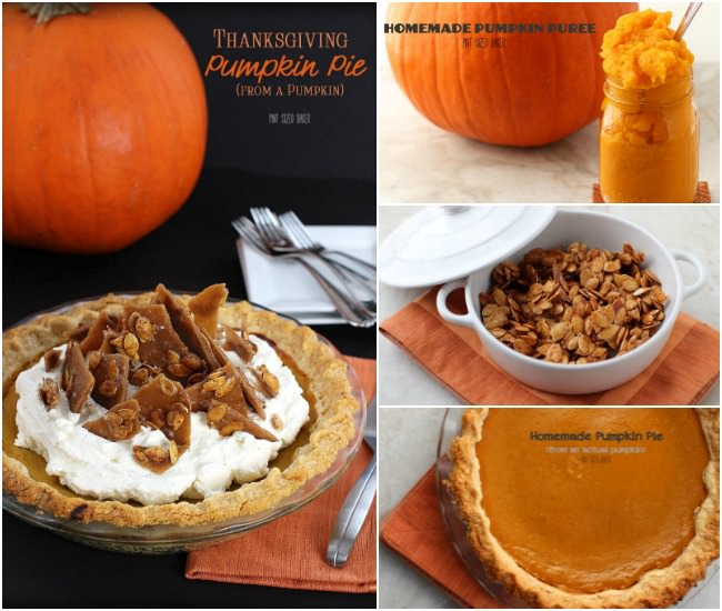 A great homemade pumpkin pie starts with a real pumpkin, pumpkin puree, honey roasted pumpkin seeds, real whipped cream and toffee shards.