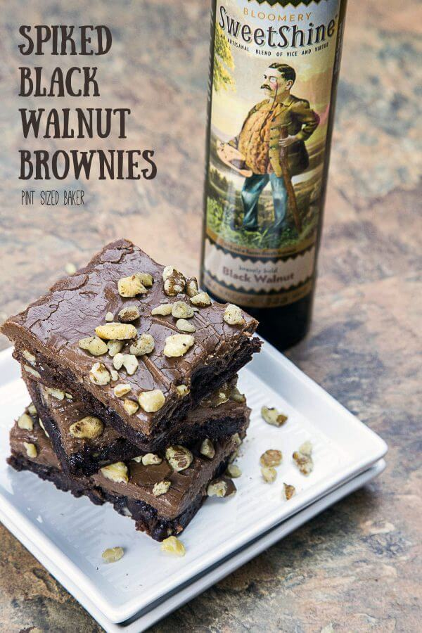 You won't believe how good these Spiked Black Walnut Brownies made with West Virginia Sweetshine.