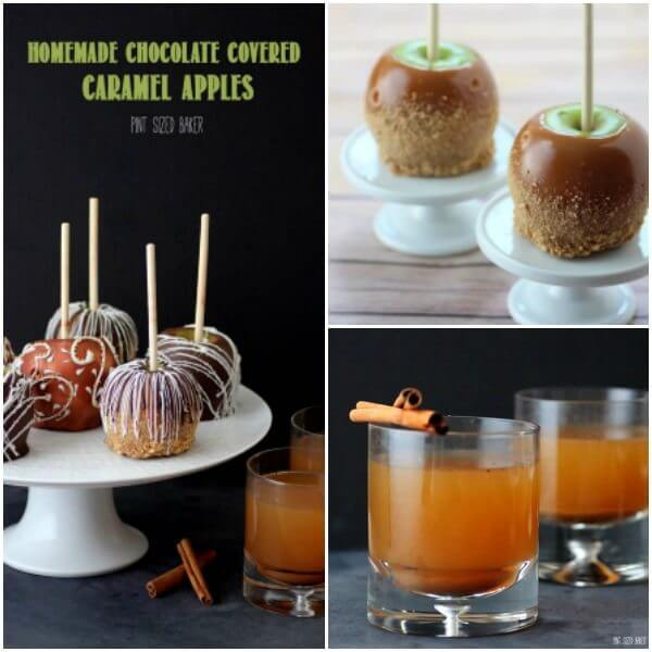 Hot Mulled Apple Cider, Caramel Apples and Chocolate covered caramel apples.