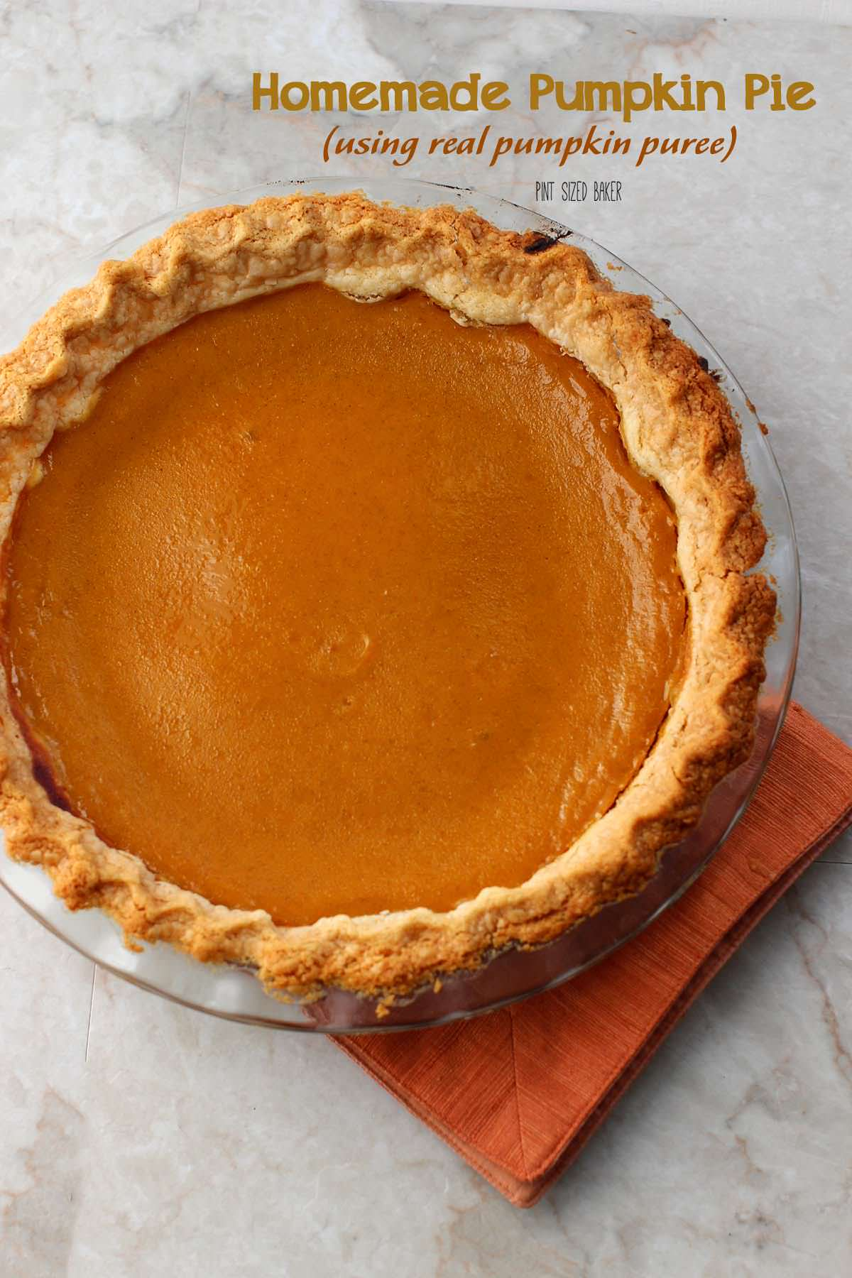 This beautiful homemade pumpkin pie is made from real, roasted pumpkin.
