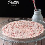 Crushed Candy Canes melted and shaped into a candy cane tray that is perfect for serving Christmas treats on.