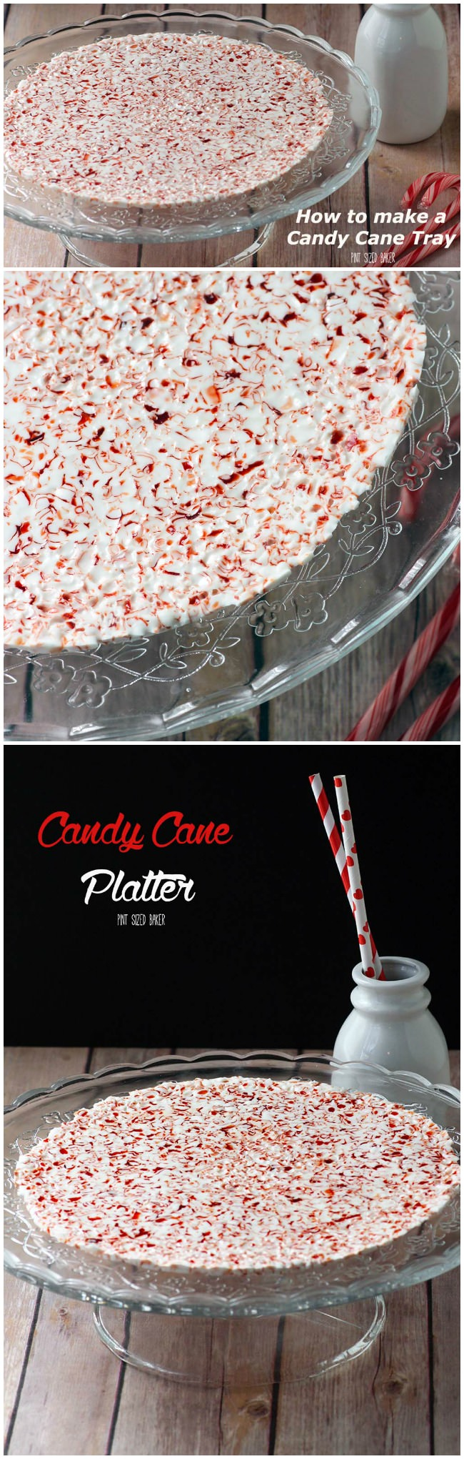 Learn how to make an easy Candy Cane Tray for your holiday treats!