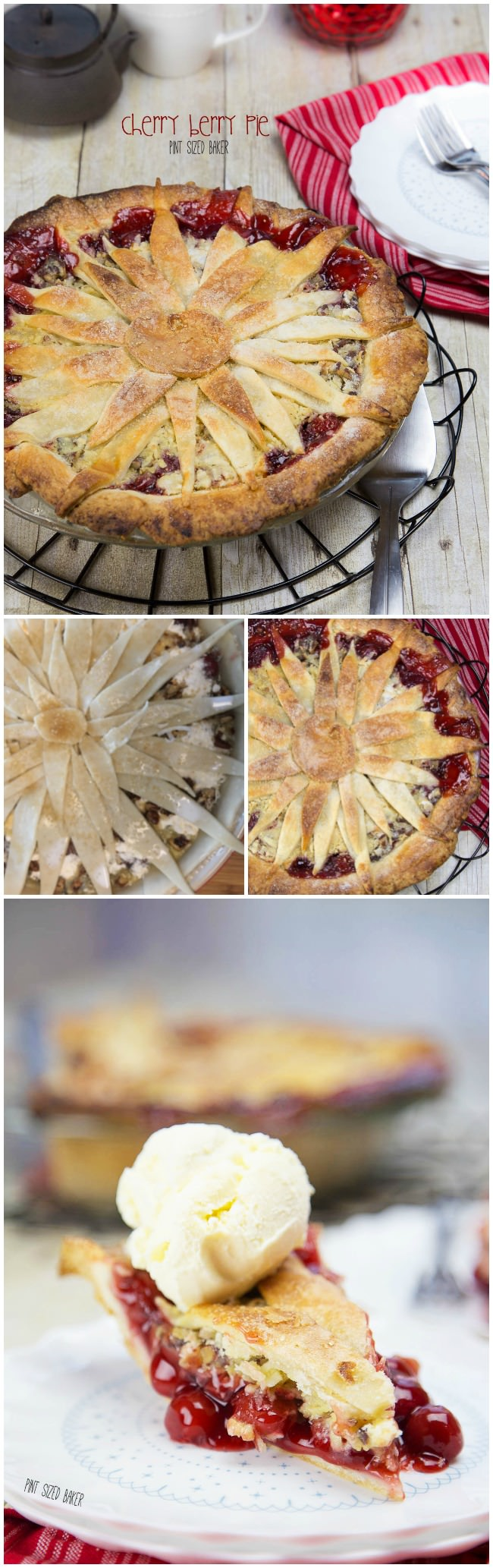 This Cherry Berry Pie is great any time of year! Make a fun flower topping to give your pie some extra fun design!