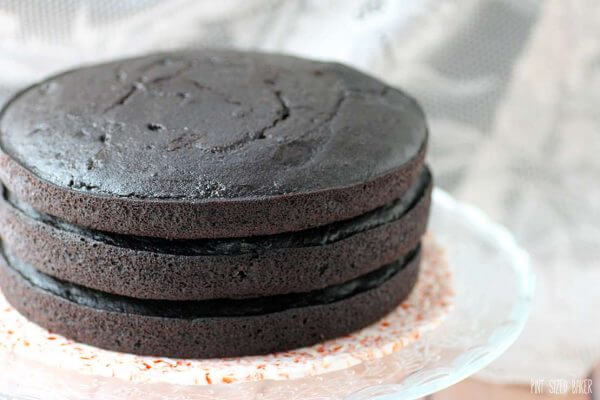 Three layers of Dark Chocolate Cake.