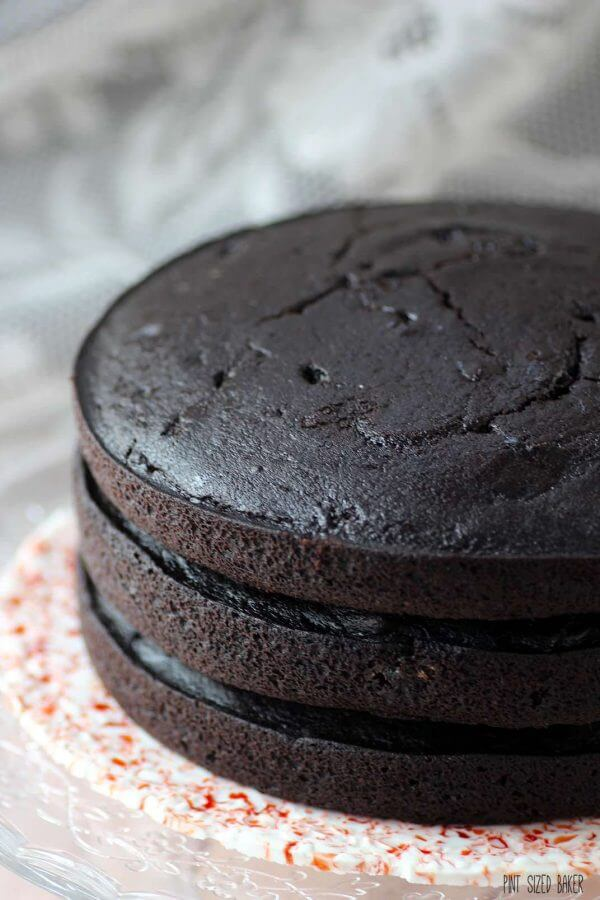 Dark Chocolate Cake recipe. Just waiting for a bold frosting.