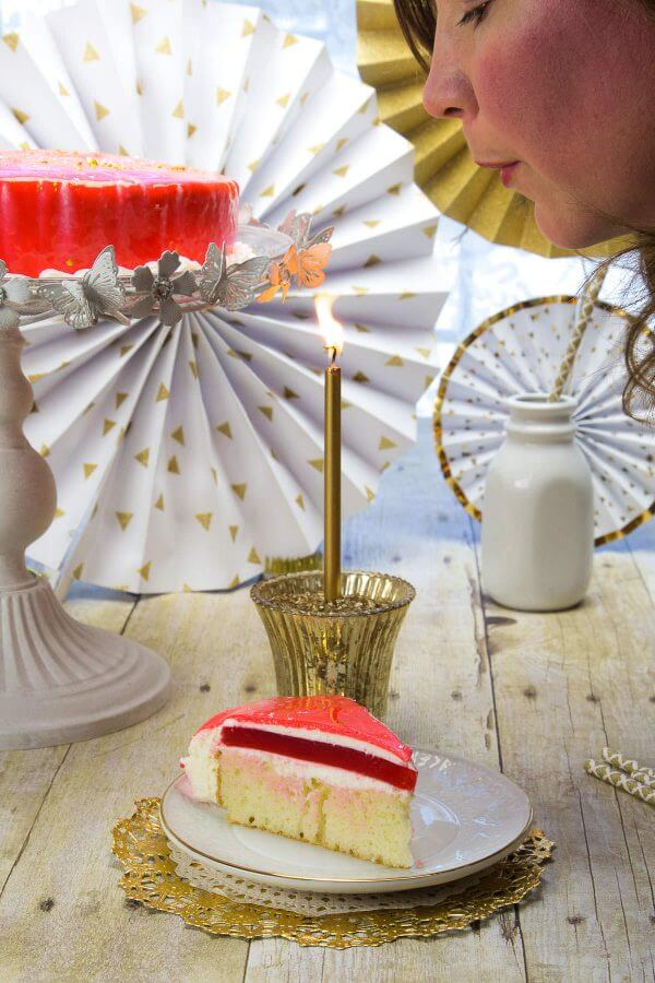 Make a wish and blow out the candles! This mirror birthday cake is the best birthday cake around.