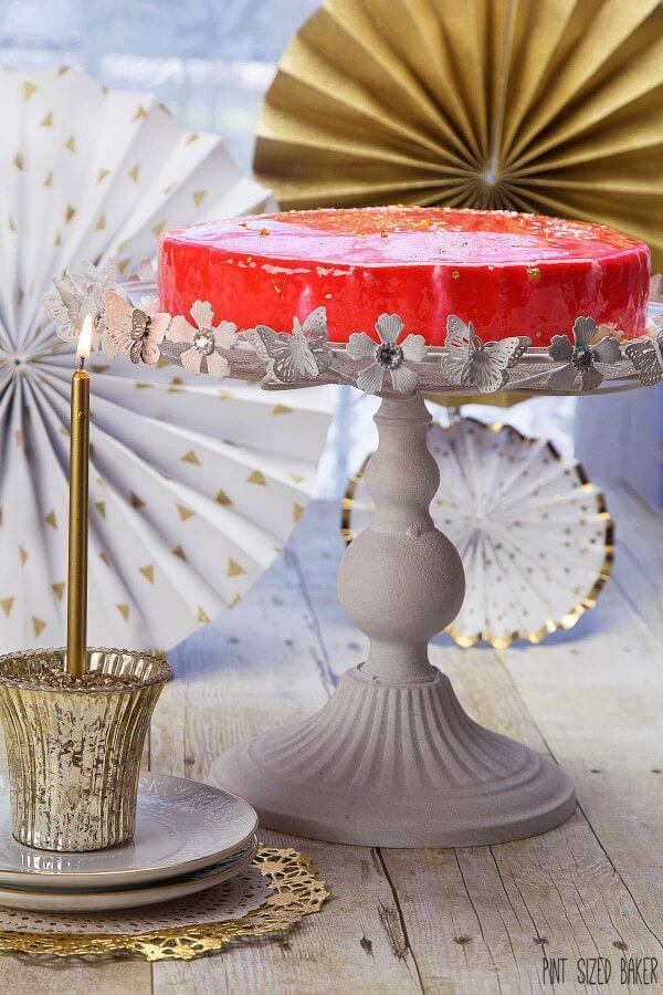What it lacks in height it makes up for in shine!! This Mirror Birthday cake can be seen from outer space!