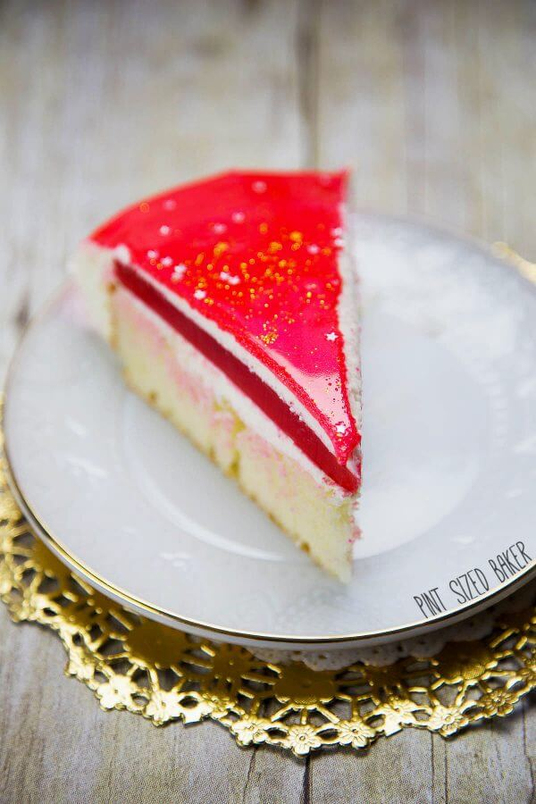 Mirror Birthday Cake - Cake, White Chocolate Mousse, Strawberry Jello and the glaze topping.