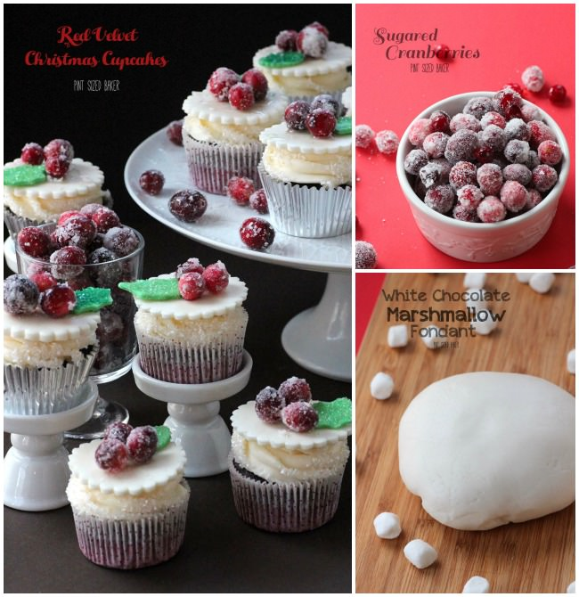 Red Velvet Cupcakes, Sugared Cranberries and homemade White Chocolate Marshmallow Fondant.