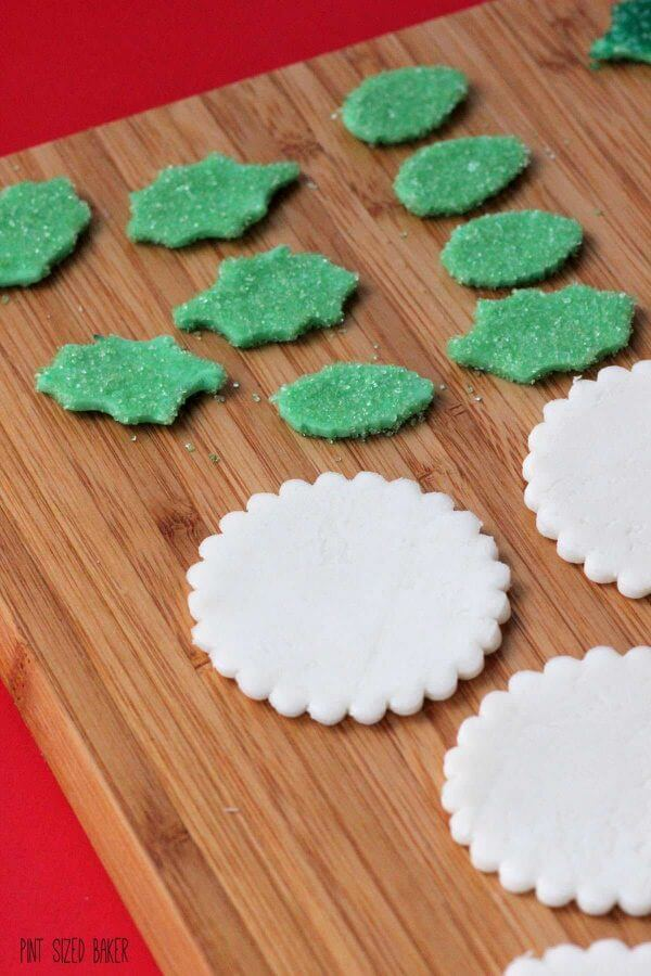 White chocolate marshmallow fondant medallions and leaves.