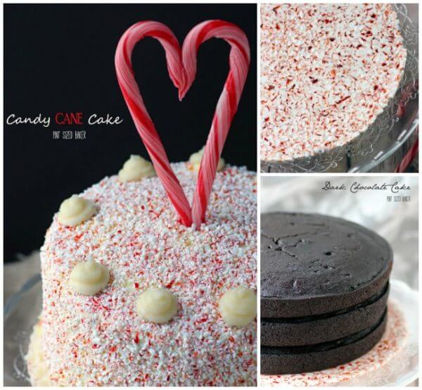Candy Cane Cake made with a dark chocolate cake and white chocolate frosting on a candy cane tray.