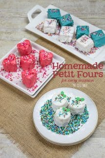 Yes you can make homemade Petit Fours for your party! They are great for any occasion - Christmas, Valentine's Day and Birthdays!