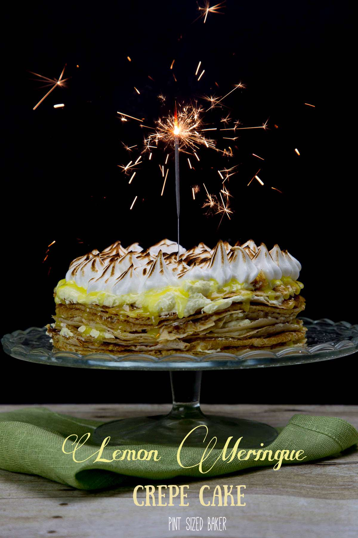 Celebrate a special occasion with a Lemon Meringue Crepe Cake! 15 Crepes layered with lemon cream and topped with meringue! Enjoy!