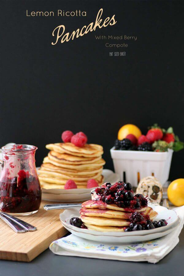 An image linking to my recipe for Lemon Ricotta Pancakes with a Mixed berry compote.
