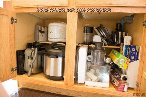 Beginning a Kitchen Renovation Project. Poor cabinet organization.