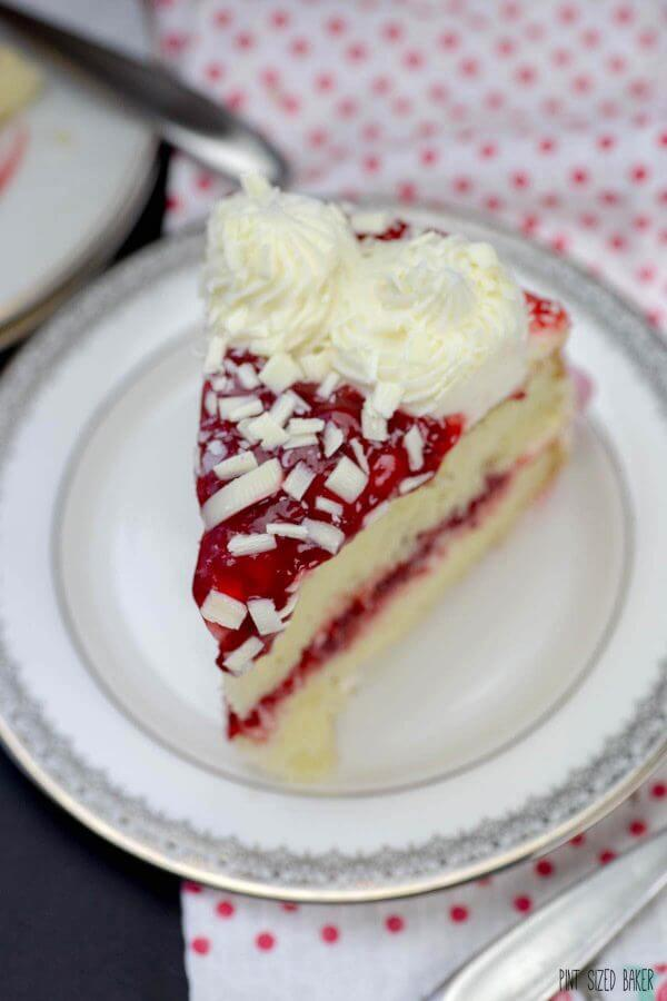 This slice of White Chocolate Raspberry Cake is all for you! No need to share it with anyone.